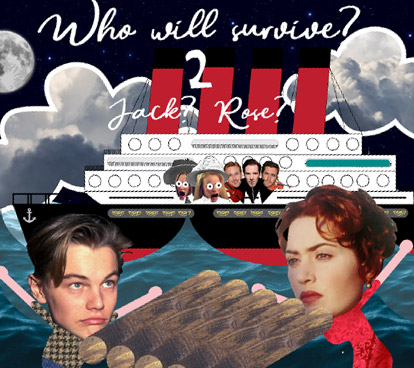 a scene from titanic in a collage style where people are in a panic and Jack and Rose are at a raft